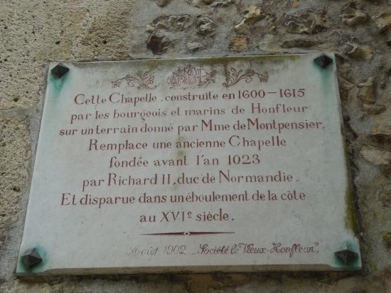 Plaque de la chapelle